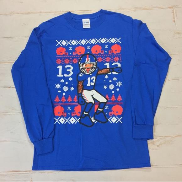 new concept 2f643 18b7f Odell Beckham Christmas Long Sleeve Blue Shirt